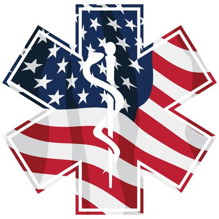 Patriotic Paramedic EMT Medical Service Symbol with USA Flag Overlay  イラスト・ベクター素材