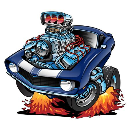 USA Classic Muscle Car Pride Cartoon Isolated Vector Illustration