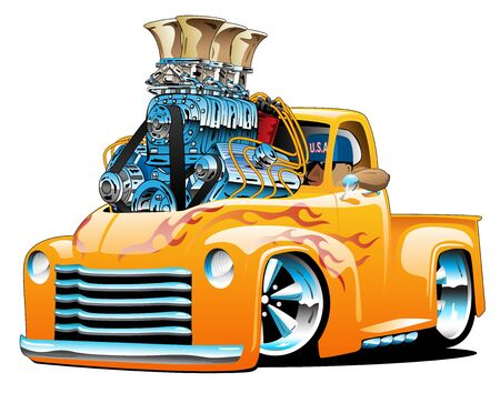 American classic hot rod pickup truck cartoon isolated vector illustration with huge chrome engine, orange and yellow flame paint scheme, big tires and chrome rims, cool low rider stance Vector Illustratie