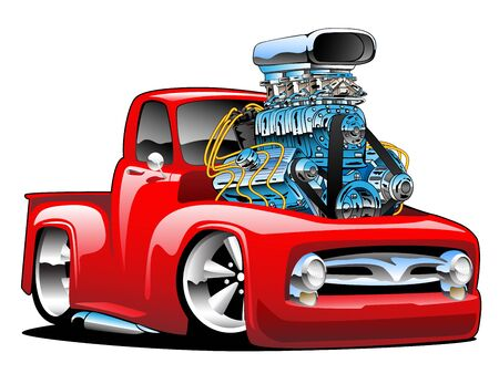 American classic hot rod pickup truck cartoon isolated vector illustration Иллюстрация