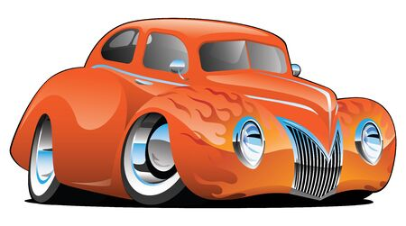 Custom Street Rod Vintage Car Cartoon Isolated Vector Illustration