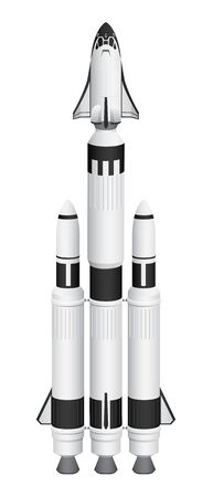 Spaceship Rocket with Boosters and Shuttle Isolated Vector Illustration