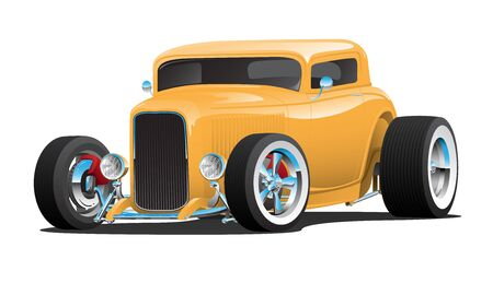 Classic American 32 Yellow Hotrod Car, chopped roof, whitewall tires, chrome rims, isolated vector illustration