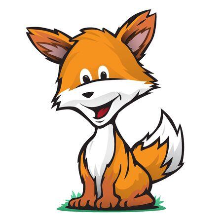 Cute Fox Cartoon Isolated Vector Illustration Ilustração