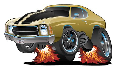 Classic American Seventies Muscle Car Cartoon, Gold with Black Stripes, Popping a Wheelie, Isolated Vector Illustration Vettoriali