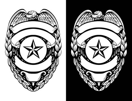 Police, Sheriff,  Law Enforcement Badge Isolated Vector Illustration in both Black Line Art and White Versions Vettoriali