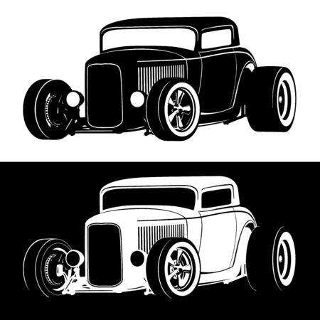 Classic American Hot Rod car isolated vector illustration in both black on white and white on black versions