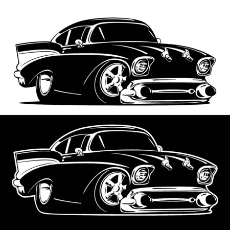 Black and White Classic American Hot Rod Cartoon Isolated Vector Illustration Illustration