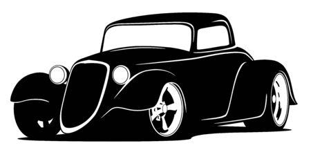 Custom American Hot Rod Car Isolated Vector Illustration