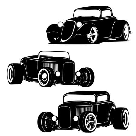 Hot Rod Muscle Cars Silhouette Set Isolated Vector Illustration