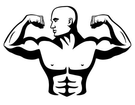 Sharp Male Bodybuilder flexing bicep muscles, looking to the right, huge chest and arms, and six pack abs Isolated vector illustration Vettoriali