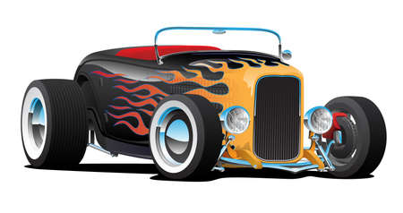 Custom thirties hot rod car roadster convertible with flame paint job, chrome wheels, chrome hub caps, low profile and white wall tires, isolated vector illustration for easy editing
