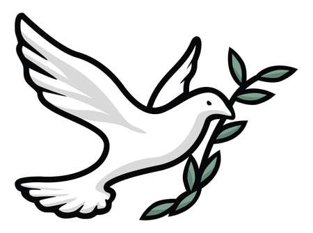 Beautiful dove with olive branch, religious symbol of faith, peace, love, and hope, nice clean black outline with white, soft gray and green tones, isolated vector illustration for easy editing