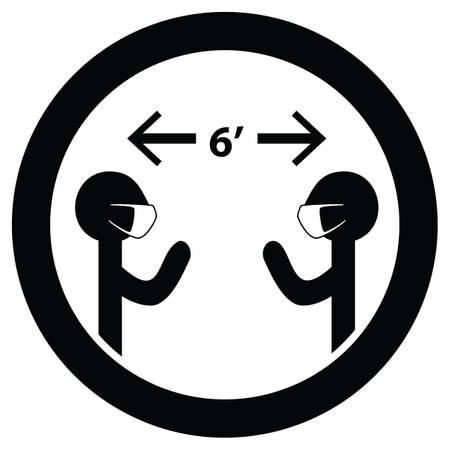 Maintain Social Distancing Six Feet Apart and Wear Mask Sign Isolated Vector Illustration