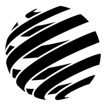Spiral Ribbon Sphere Isolated Vector Illustration Vettoriali