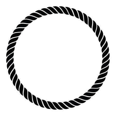 Nice nautical single rope braided twisted line in a perfect circle isolated vector illustration for easy editing. Vettoriali