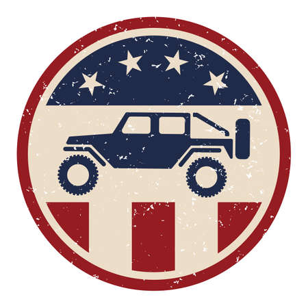 USA off road 4wd logo with slightly grungy distressed aged look in red white and blue with stars and stripes isolated vector illustration