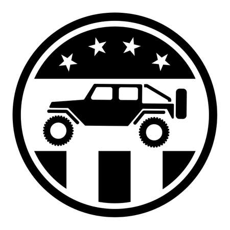 USA off road 4wd logo in black with stars and stripes isolated vector illustration, sharp patriotic overland off road adventure design design