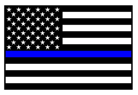 Sharp patriotic police support blue line flag in black with blue stripe, isolated vector illustration for easy editing.