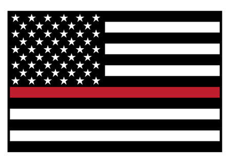 Sharp patriotic firefighter support red line waving flag in black with red stripe, isolated vector illustration for easy editing.