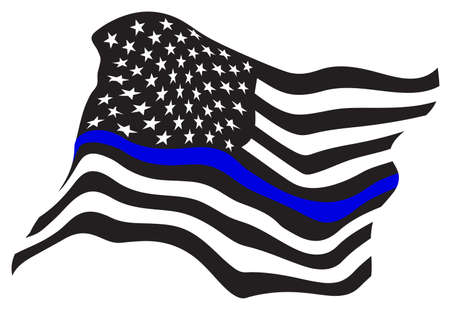 Sharp patriotic police support blue line waving flag in black with blue stripe, isolated vector illustration for easy editing.