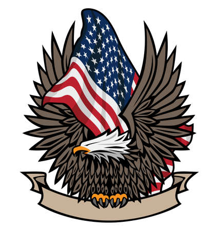 Patriotic Bald Eagle, holding a blank banner in its talons, with USA waving flag in full color browns, black, red, white and blue stars and stripes, isolated vector illustration for easy editing. Vettoriali