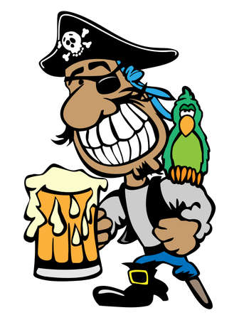 Cartoon Partying Pirate Drinking Beer with Parrot and Peg Leg Isolated Vector Illustration