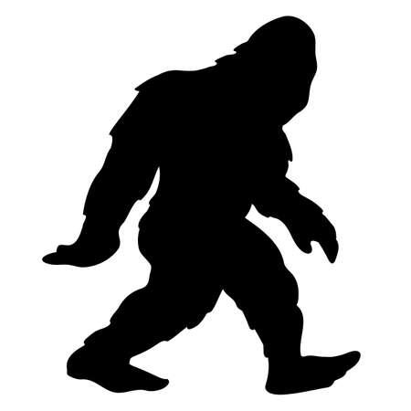 Very cool bigfoot sasquatch yeti cartoon walking, isolated vector illustration