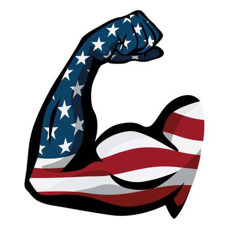 American Pride USA Flag Arm Flex Isolated Vector Illustration