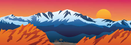 Beautiful Rocky Mountains inspired landscape scene with soft gradients and bold colors. Sharp vector illustration. Vecteurs