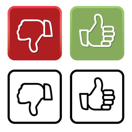 Thumbs Up and Thumbs Down in Color and Black Vector Illustration