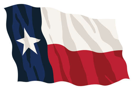 Texas state flag, waving, in full color red white and blue, isolated vector illustration for easy editing.  イラスト・ベクター素材