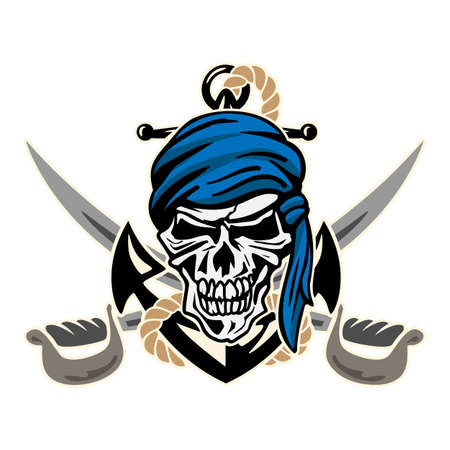 Sharp pirate skull with anchor, rope, bandanna, crossed cutlasses, crisp lines, vector illustration isolated for easy editing.