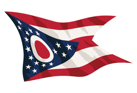 Cool waving state of Ohio flag, in sharp red white and blue, waving, nicely detailed isolated vector illustration.