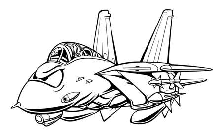 Classic Fighter Jet Aircraft Cartoon Vector Illustration