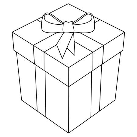 Gift Box with Bow and Ribbon 3D Line Art Isolated Vector Illustration  イラスト・ベクター素材
