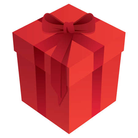 Red Romantic Holiday Gift Box with Bow and Ribbon 3D Isolated Vector Illustration  イラスト・ベクター素材