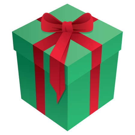 Green and Red Christmas Holiday Gift Box with Bow and Ribbon 3D Isolated Vector Illustration