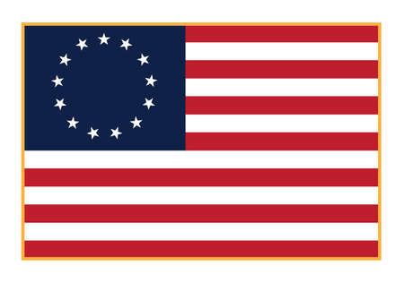 Sharp early American Betsy Ross flag in red white and blue with 13 stars, isolated vector illustration for easy editing.  イラスト・ベクター素材