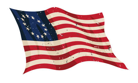 Sharp early American Betsy Ross flag in red white and blue with 13 stars, waving with a slightly aged distressed look, isolated vector illustration for easy editing.  イラスト・ベクター素材