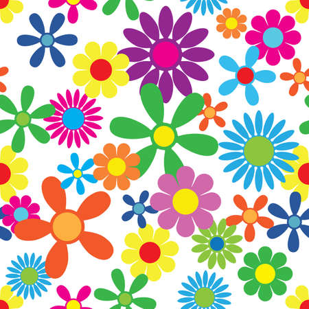 Hippie Flowers Seamless Repeating Pattern Vector Illustration