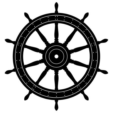 Old Sailing Ship Wheel Isolated Vector Illustration
