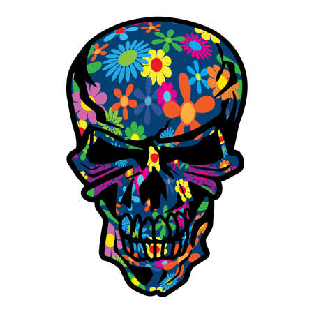 Colorful Hippie Flowers Psychedelic Skull Isolated Vector Illustration