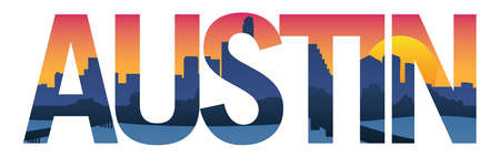 Austin Texas City Skyline Typography Overlay Isolated Vector Illustration  イラスト・ベクター素材