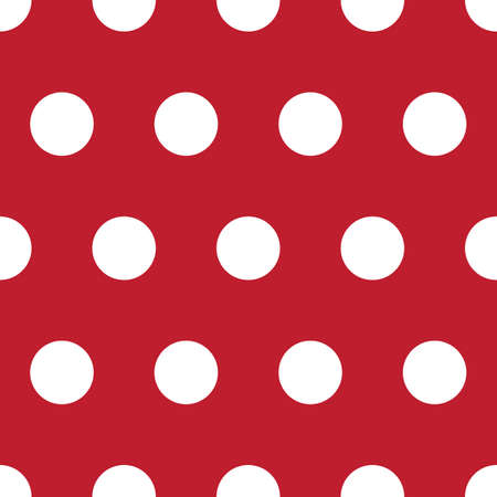 Classic retro red and white polka dot seamless repeating pattern vector illustration  イラスト・ベクター素材