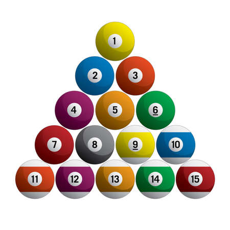 Billiards Pool Balls Racked Set Realistic 3D Isolated Vector Illustration