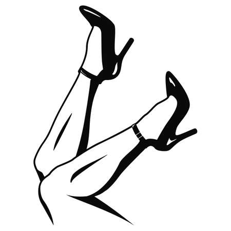 Nice pair of legs with high heels, laying back, feet up, isolated vector illustration.