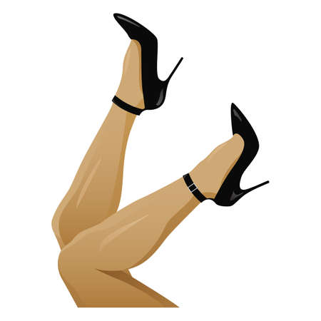 Legs in Black High Heels Isolated Vector Illustration