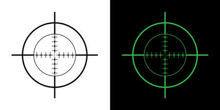 Gun Sight Crosshairs Bullseye Isolated Vector Illustration in Black and Green  イラスト・ベクター素材