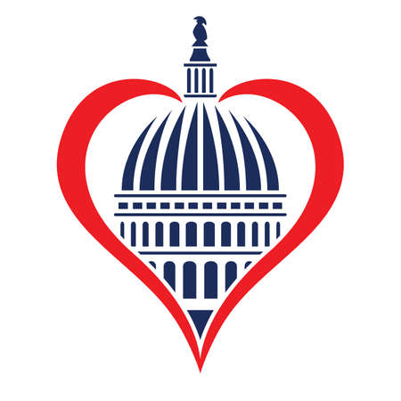 Washington DC Capitol Dome with Heart Memorial Tribute Isolated Vector Illustration